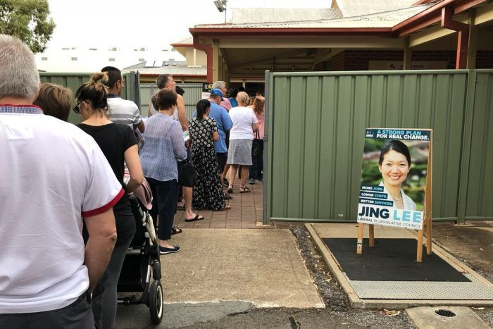 Voters queue up at a polling booth in South Australia.