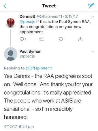 A Twitter exchange between Dennis B and Paul Symon from December 2017.