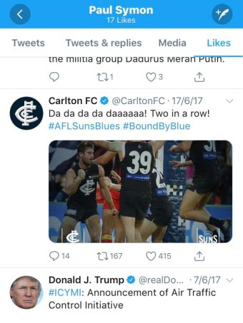 A list of tweets including one from Carlton Football Club with a photo of players celebrating a win and one from Donald Trump.