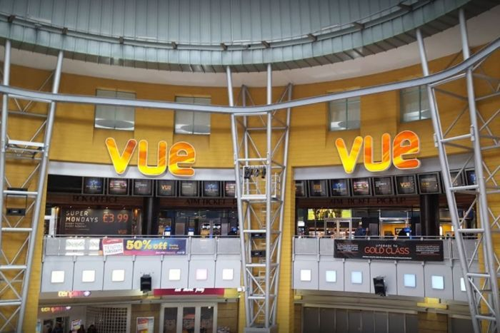 Outside the Vue International cinema complex in Birmingham, UK.