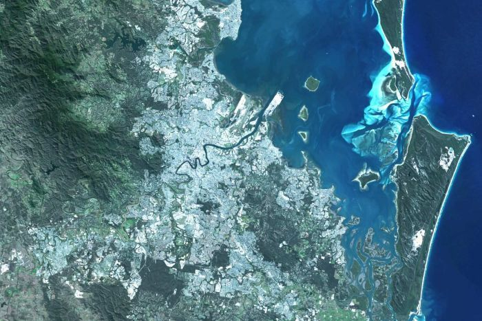 A satellite image of the greater Brisbane region.