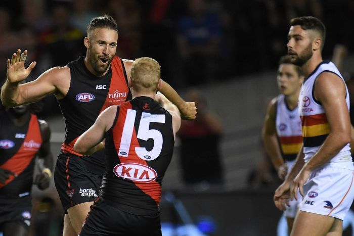 Cale Hooker (L) reacts after kicking a goal to put Essendon in front against Adelaide at Docklands.