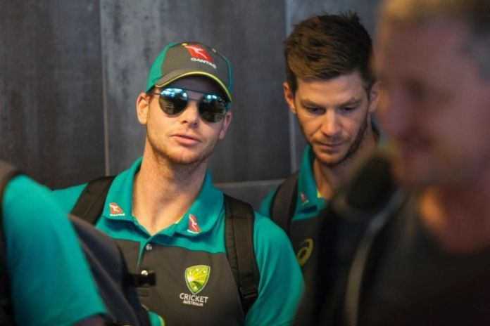 Steve Smith, pictured at Cape Town airport before flying to Johannesburg.