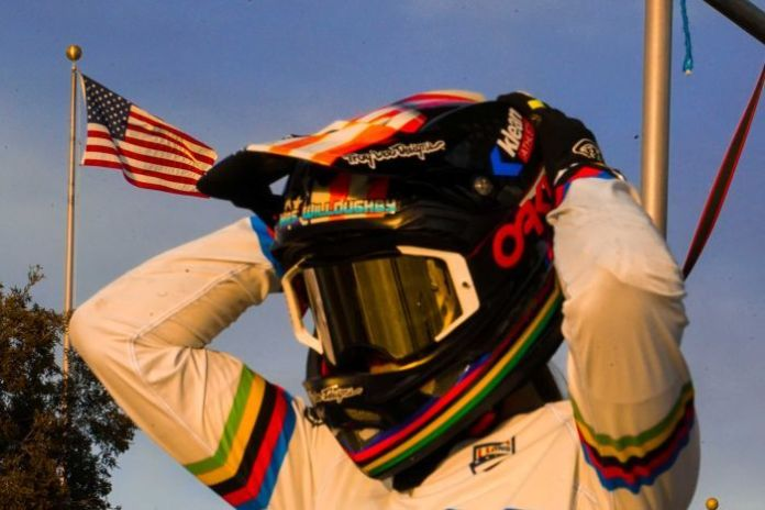 Alise Willoughby in her BMX helmut