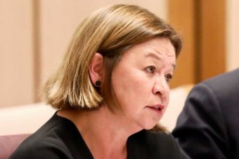 Michelle Guthrie speaks to senators in an estimates committee. Communications Minister Mitch Fifield is in the background.