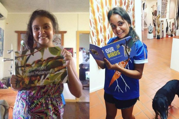 Two side-by-side photos of Siena Stubbs with the early and finished versions of her book Our Birds.