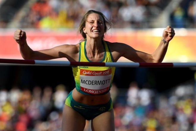 Nicola McDermott of Australia reacts following a successful jump in the Women's High Jump Final.