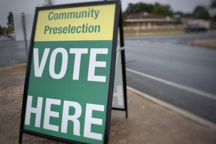 A sign for a community preselection vote in Shepparton.