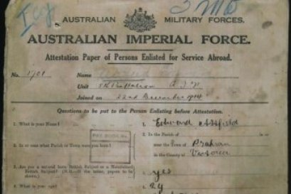 Private Attfield's enlistment papers