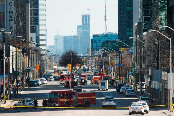 Emergency services close Yonge Street following the incident.