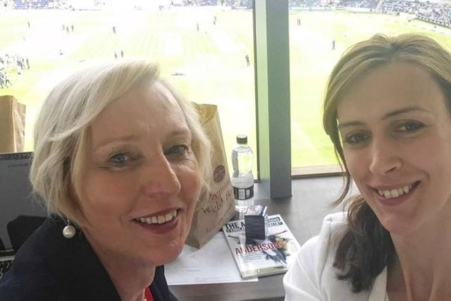 Hanging out in the media box at the cricket