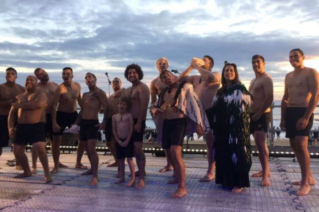 New Zealand performers at the Mooloolaba Beach dawn service performed a haka and a welcome song.