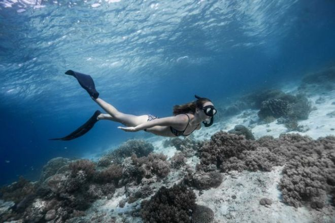 A woman in a bikini, flippers and snorkel mask swimming in shallow water.