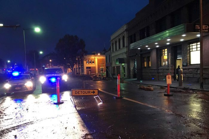 Extreme weather conditions in Hobart's city centre