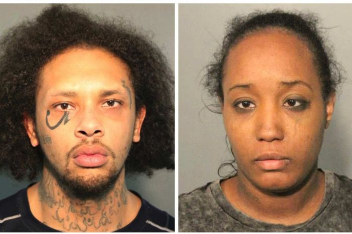 Police mug shots of Jonathan Allen (left) and Ina Rogers (right) looking at the camera