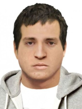 A computer generated image of a man with dark brown hair in a white t-shirt and grey hooded jumper.