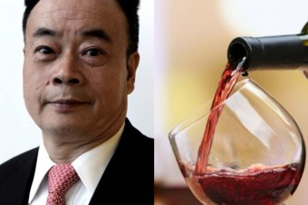 Chinese businessman Chau Chak Wing and a glass of red wine