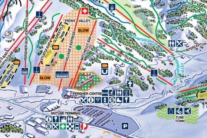 An illustrated map of ski slopes at the Perisher resort in New South Wales. The bottom right appears to be an area for snow play