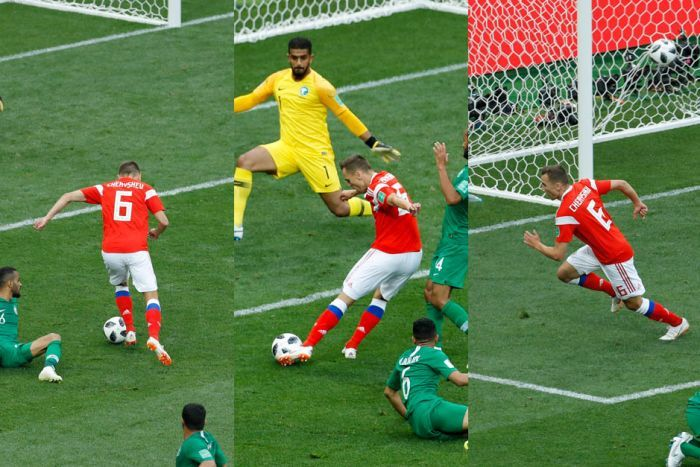 Composite of Denis Cheryshev scoring Russia's second goal against Saudi Arabia