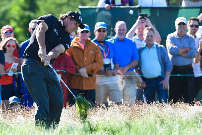 Phil Mickelson shoots from the fescue on the twelfth hole during the first round of the U.S. Open.
