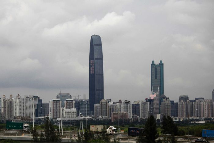 General cityscape of Shenzhen, including the 100-floor tower Kingkey.