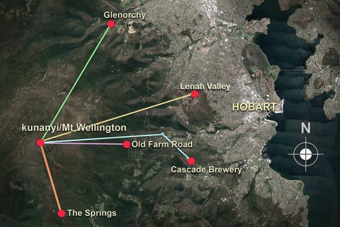 Map showing potential routes for kunanyi/Mt Wellington cable car project.