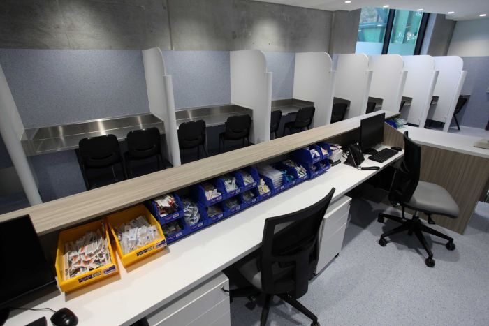 The cubicles in Melbourne's first safe injecting room.