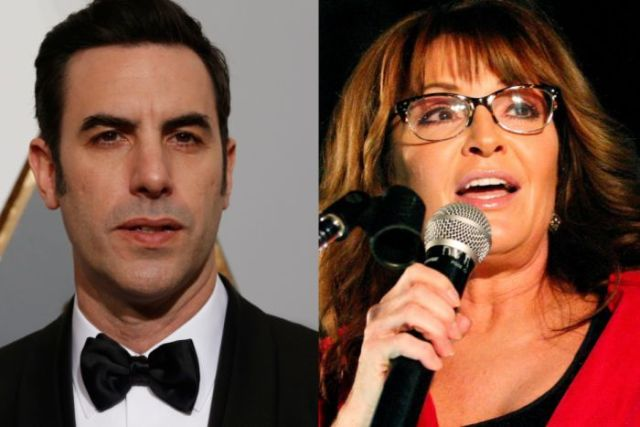Sacha Baron Cohen (left) in a tuxedo, Sarah Palin (right) speaks on stage