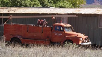 Old rusting fire truck sits abandoned in Wittenoom