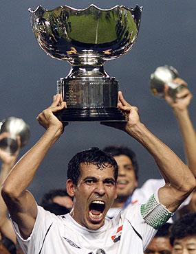 Iraqi captain Younis Mahmoud lifts the Asian Cup