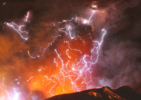Volcanic lightning strikes above Shinmoedake peak