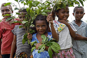Kiriwina Islander children from Kavataria village, PNG. A Bogainville nun says the government needs to work towards helping disadvantaged youth. [AFP]