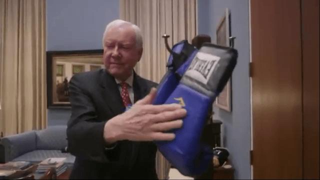 Senator Orrin Hatch hangs up boxing gloves