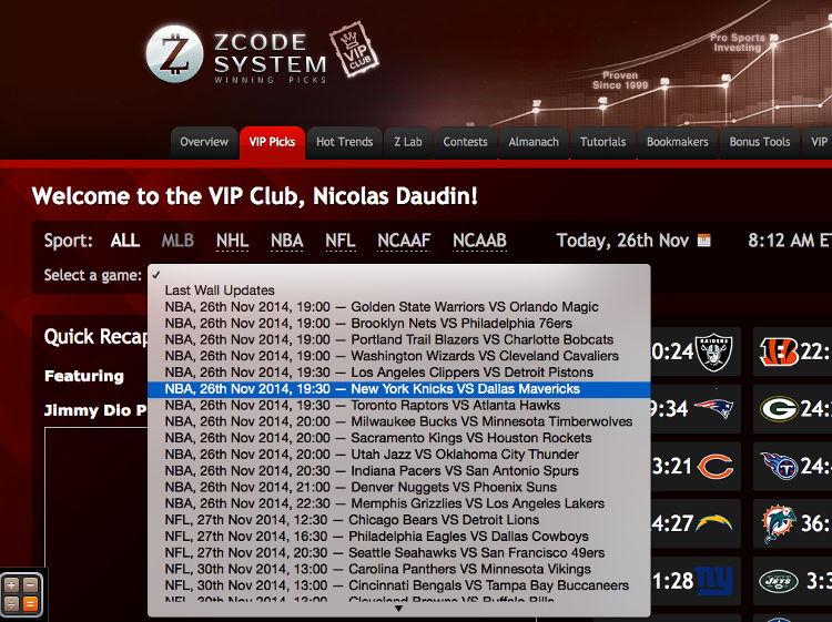 Capture d'écran menu déroulant dans VIP Picks