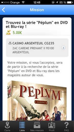 Copie d'écran d'une mission dans LocalEyes, pour retrouver en magasins les exemplaires d'un DVD