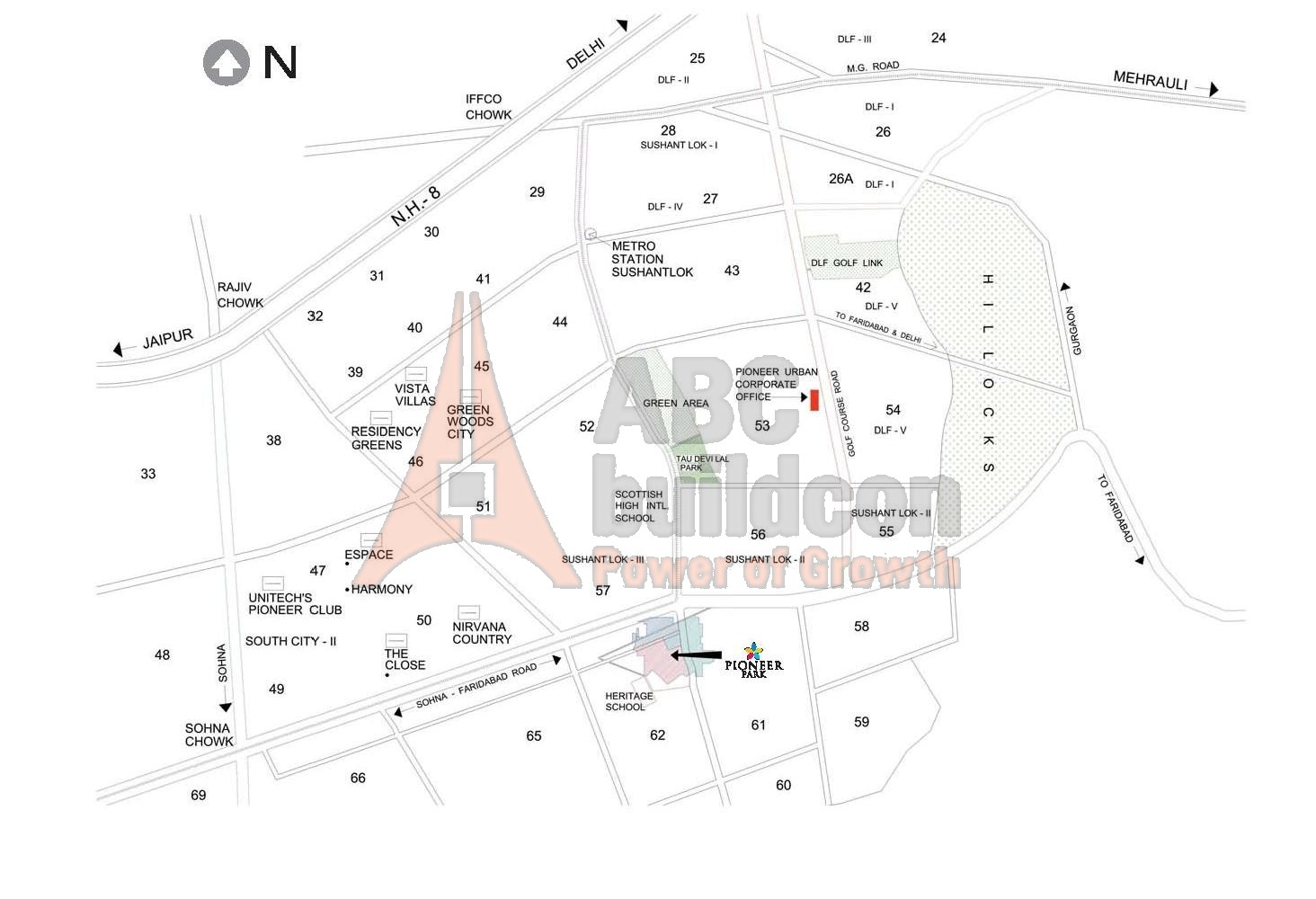 Location Map Of Pioneer Urban Square
