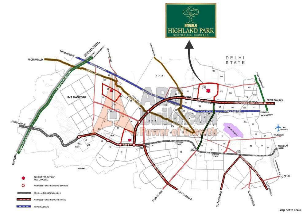 Ansal Highland Park of Location map