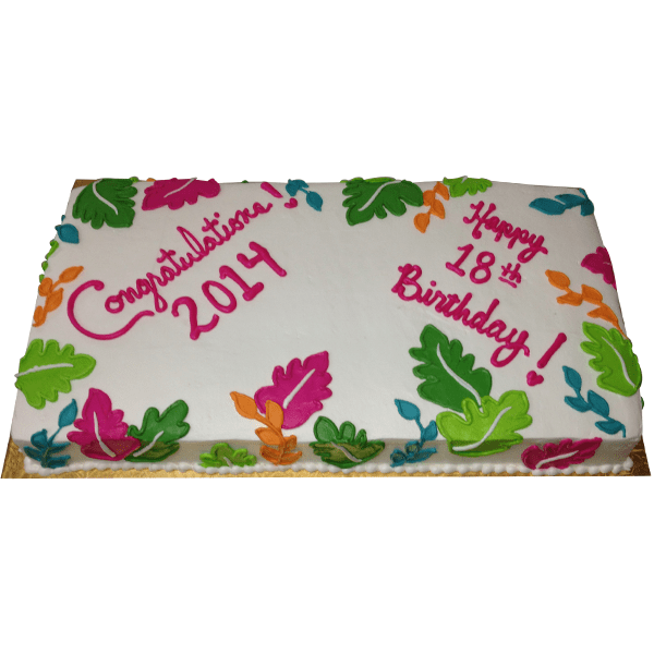 1266 Tropical Sheet Cake For Birthday With Leaves Abc