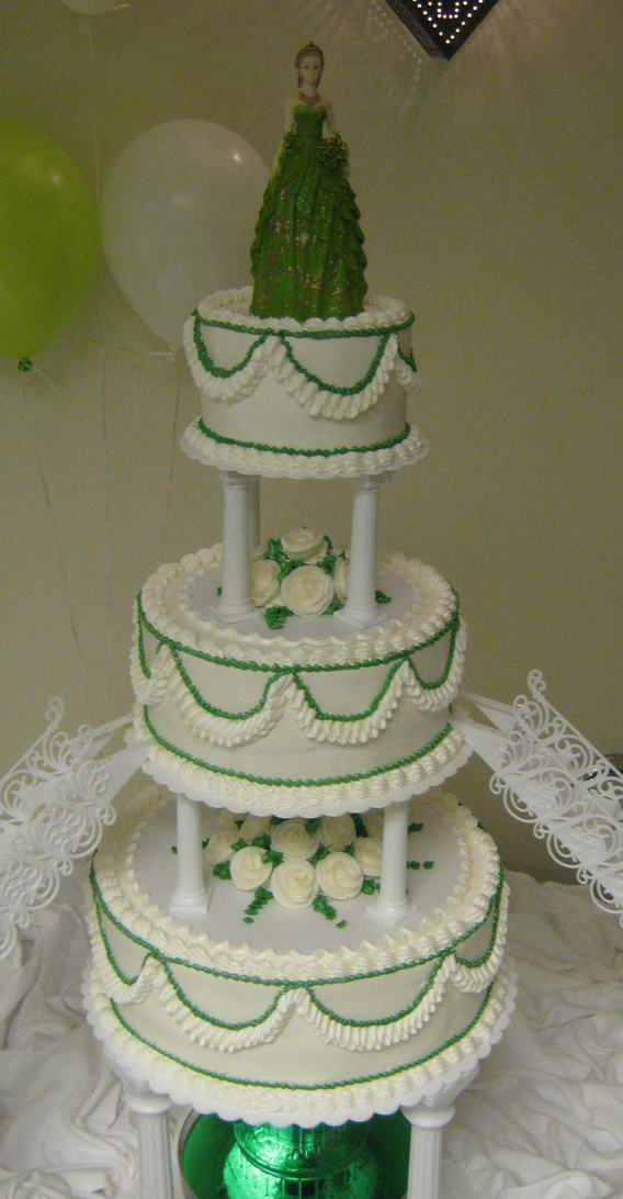1739 3 Tier Quinceanera Cake With Green Trim Abc Cake