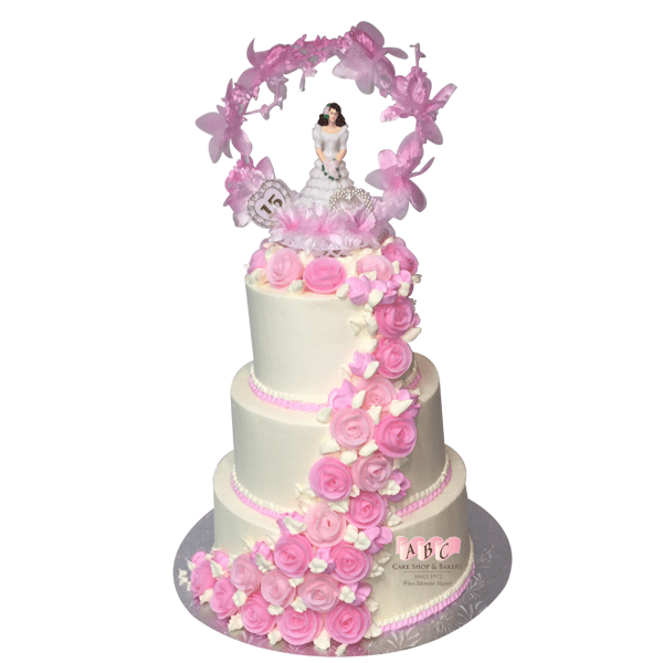 1602 3 Tier Quinceanera Cake With Pink Frosting Flowers Abc Cake