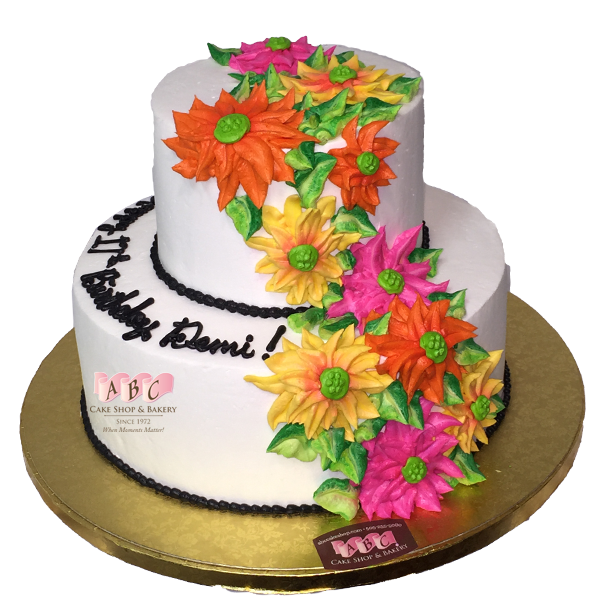 1795 2 Tier Floral Birthday Cake Abc Cake Shop Bakery