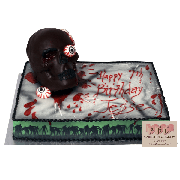 1905 Zombie Birthday Cake With Chocolate Skull Abc
