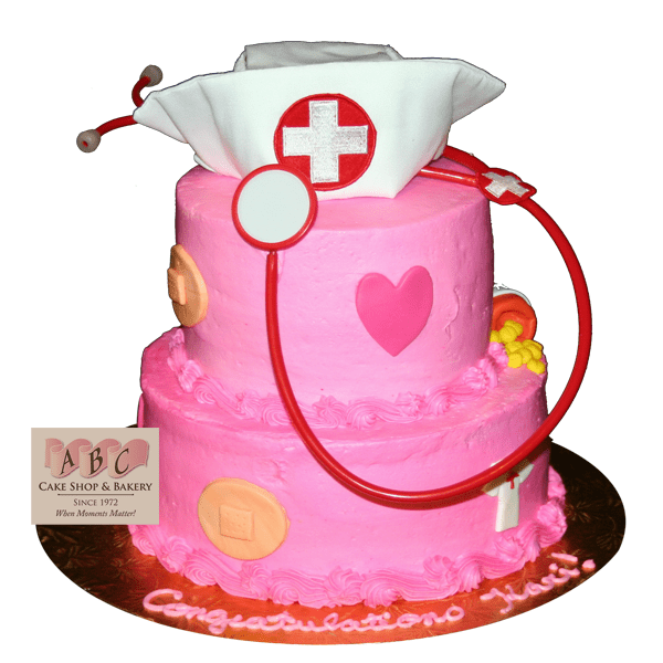 2064 2 Tier Pink Nurse Cake ABC Cake Shop Amp Bakery
