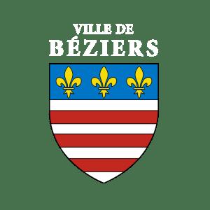 logo ville Béziers texte blanc