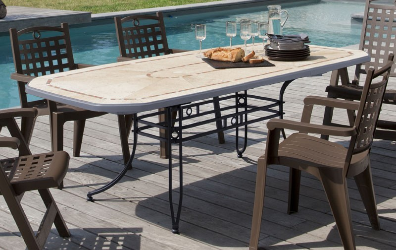 Grosfillex CGrande table resine amalfi 220x100 anthracite