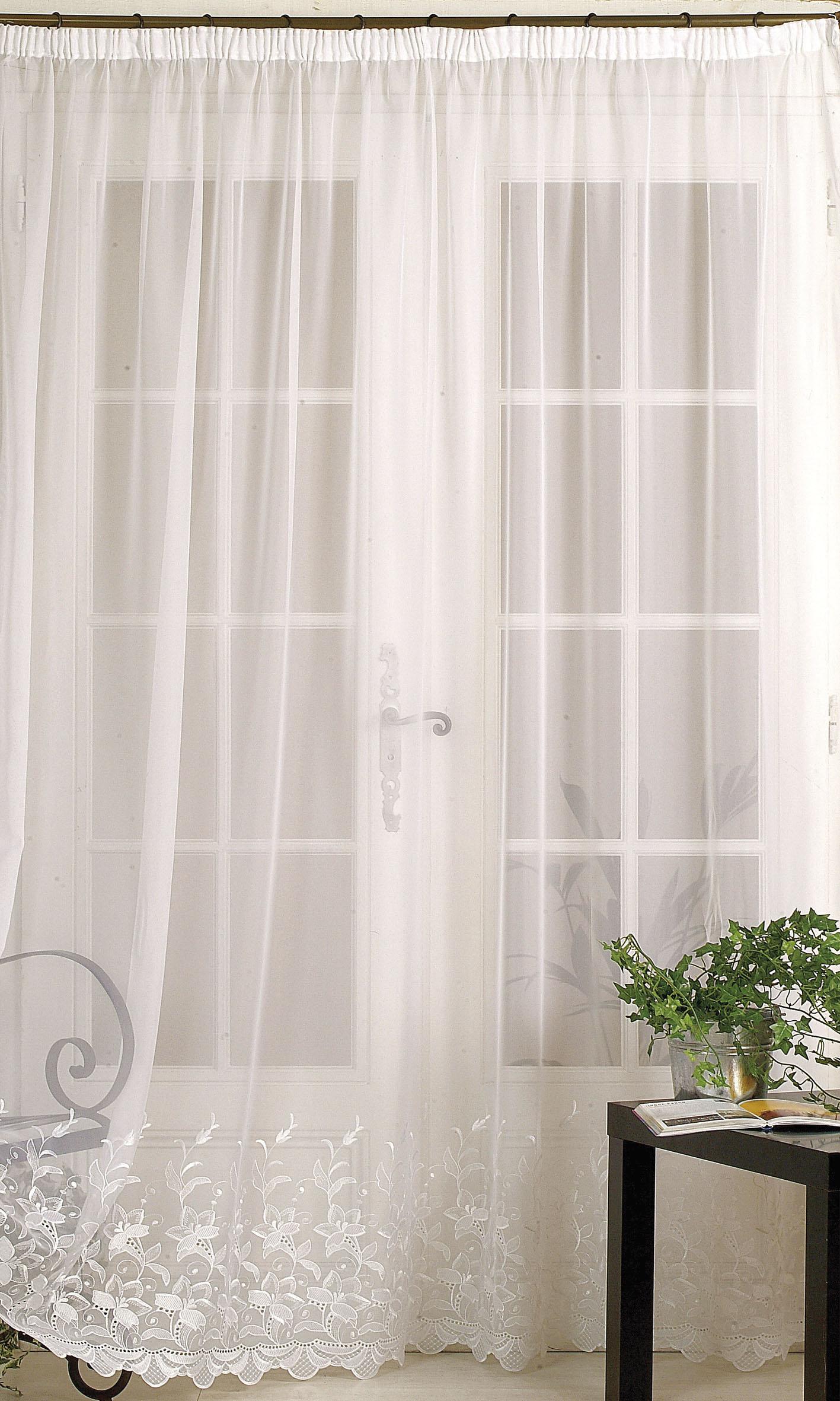 Homemaison Rideau Classique En Voile Uni Ourlet Croquet Blanc