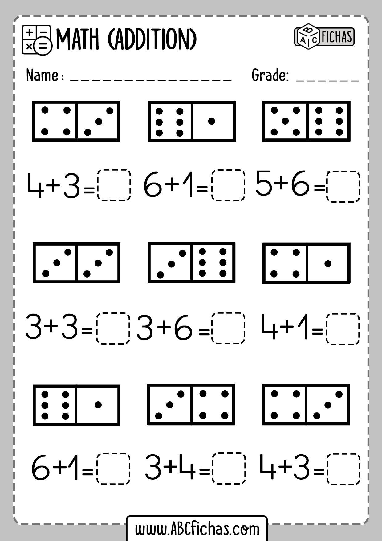 Kindergarten Math Worksheet Dominio Addition