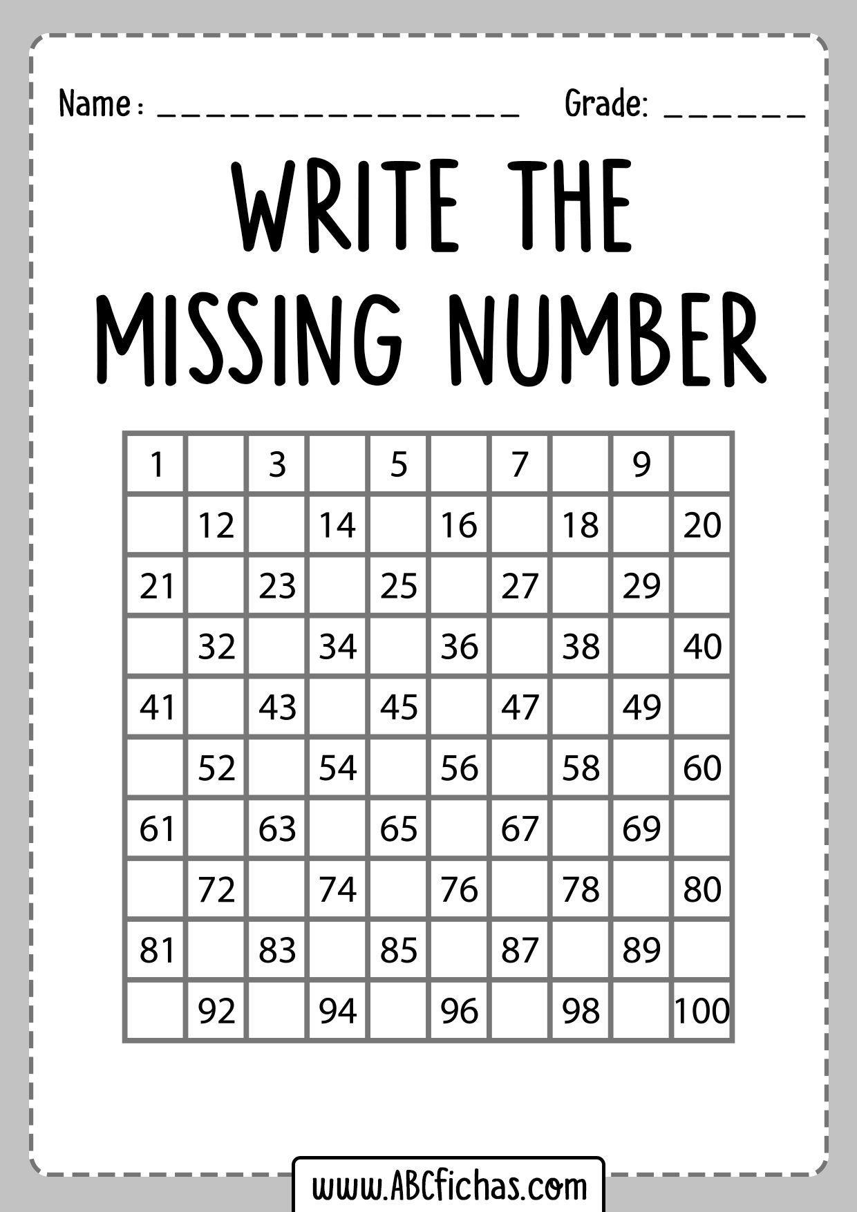 Write The Missing Number Worksheets For First Grade