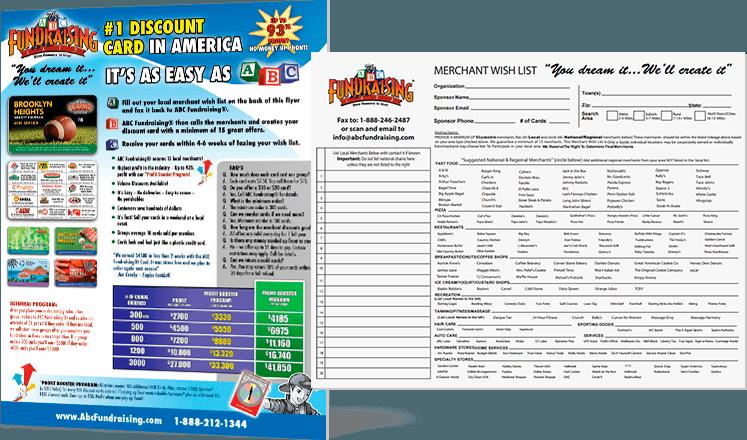 Discount Card Fundraiser Merchant Wish List