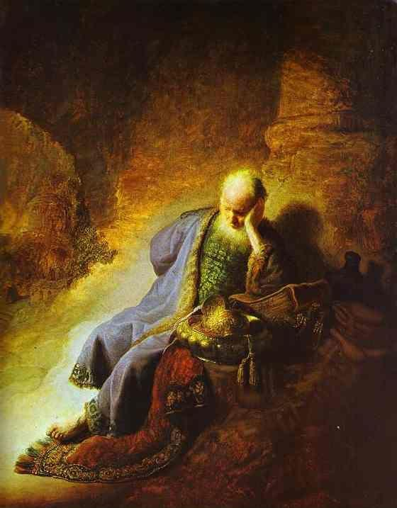 Rembrandt. The Prophet Jeremiah Mourning  over the Destruction of Jerusalem.